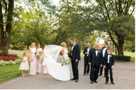 Wedding party on the path