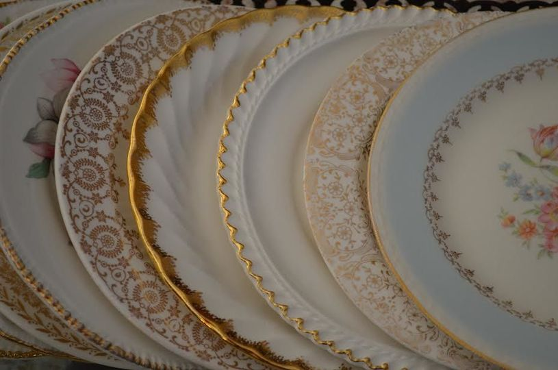 Mismatched vintage china available for hire.