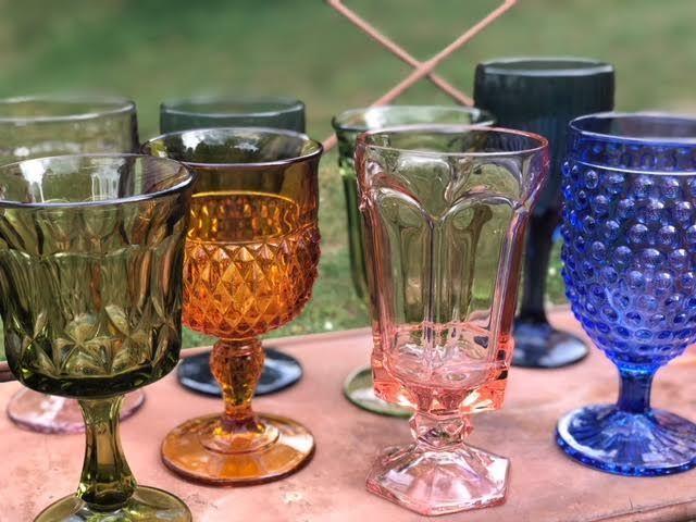 Mismatched vintage goblets available for hire.