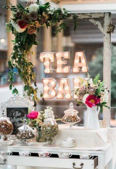 Tea bar at bridal shower