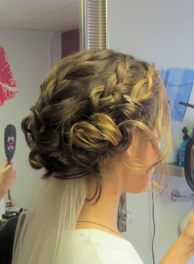 Bohemian Braid, image of bridal hair style at my Sayville studio.