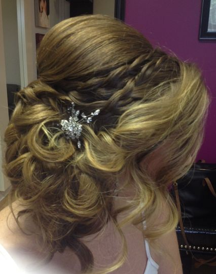 Braids with loosely curled bun to the side,   extensions added for fullness, bridal hair trial at my...