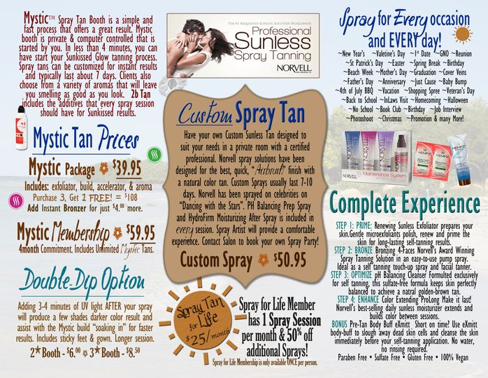 Inside of Spray Brochure with detailed information and pricing.
