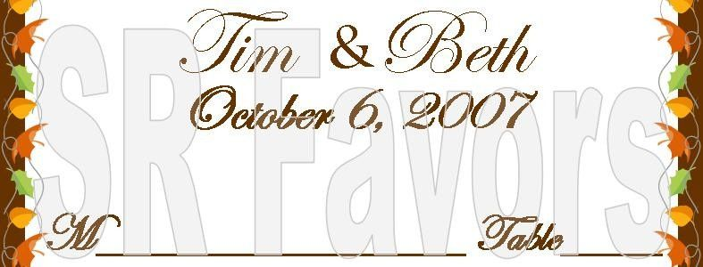 Elegant place card customized wrapper. Fall theme borders. Order now at www.srfavors.com design W113