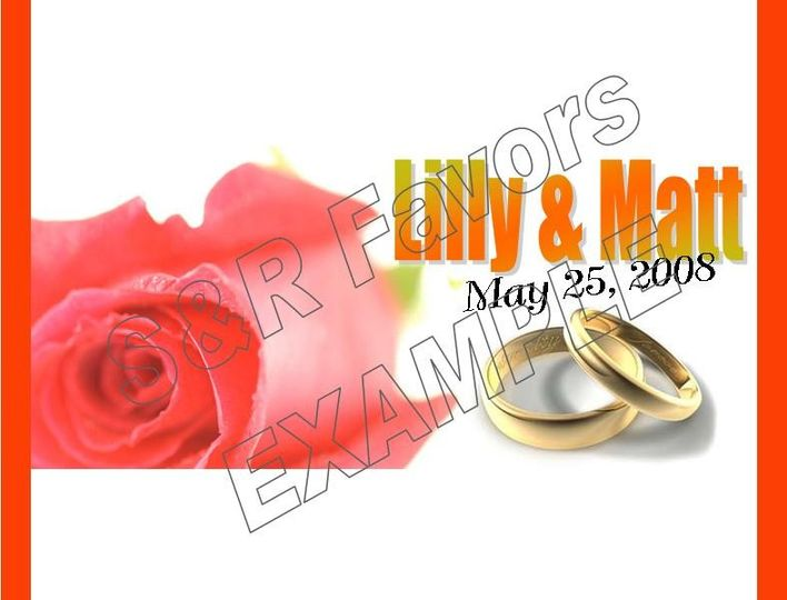 Rose and Rings - Border and font can be in any colors, rings can be silver if you prefer! Order...