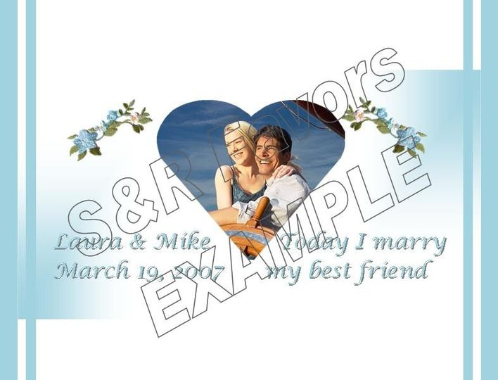 Embroidered Flowers with Photo Heart - Photo's are always free at S & R Favors! Order online at...
