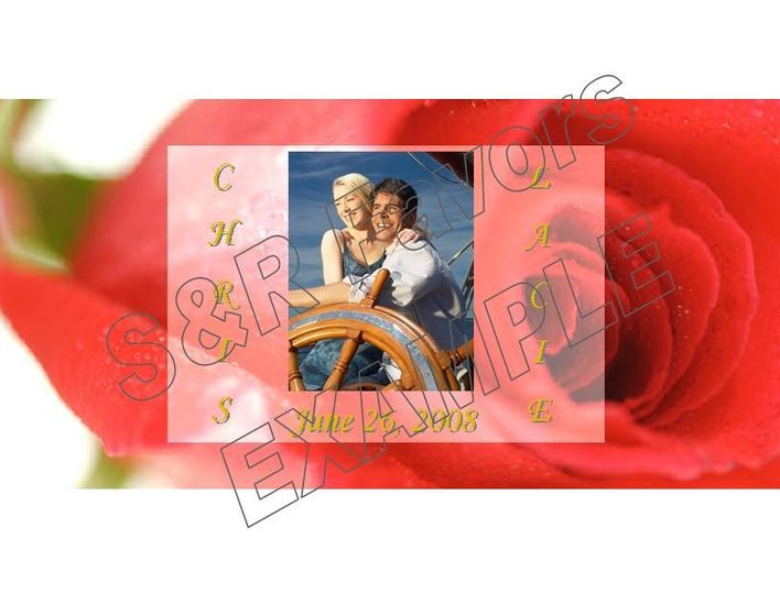 Pretty Rose background with your photo!  Order online at www.srfavors.com design code W168