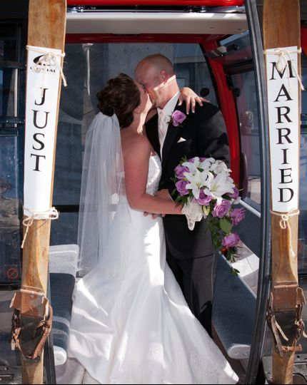 Newlyweds kissing on the cable car