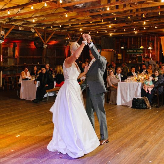 Sharing a lively first dance
