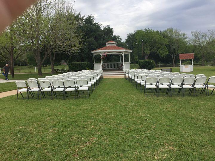 Getting ready for gazebo wedding