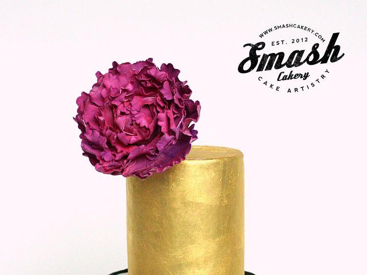 Tmx 1429503343035 23kgoldfuschiapeony Copy 1 Spring wedding cake