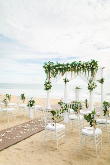 ceremony on beach set up