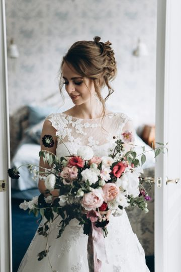 bride with oversized bouquet