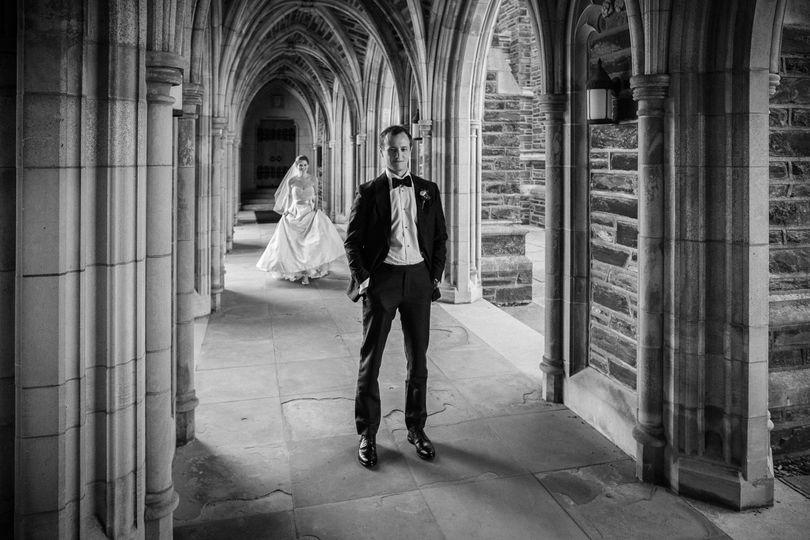 duke chapel wedding photographer first look 1