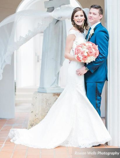 Augusta Jones gown and Boutique de Voile veil by Bacio Bacio