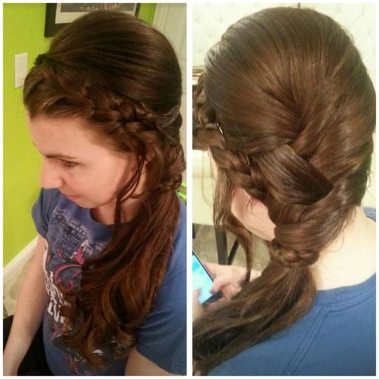 Front and back of braids