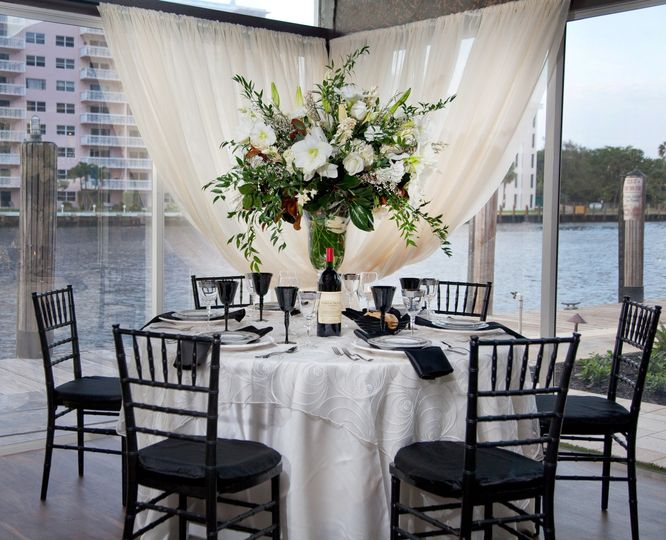 Table setting in black chairs