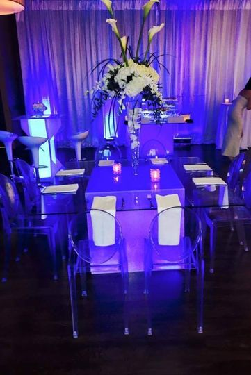 Table setting with blue lights
