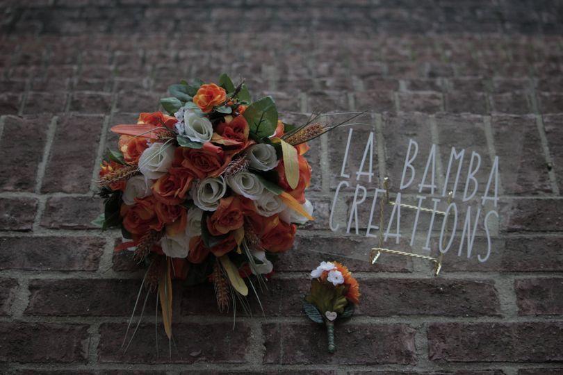 White and orange bouquets