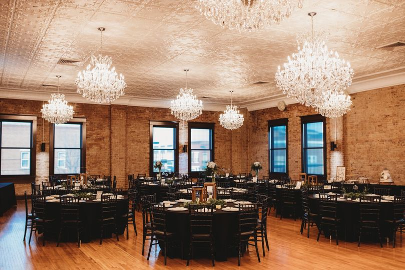 Crystal Ballroom decorated for reception