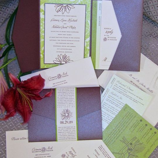 Carmen and Nick Wedding Invitation, Map, Reply Card