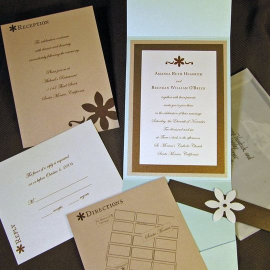 Amanda and Brendan Invitation, Map, Reception, Reply Card