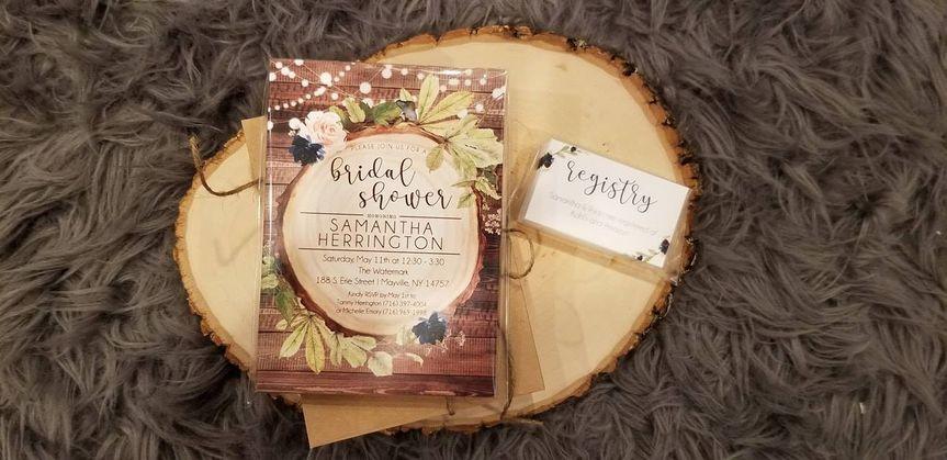Wood slice bridal shower