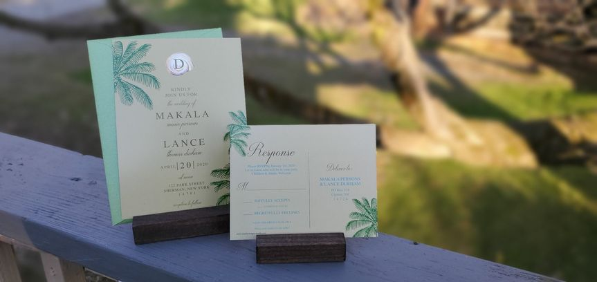 Beach palm tree wedding