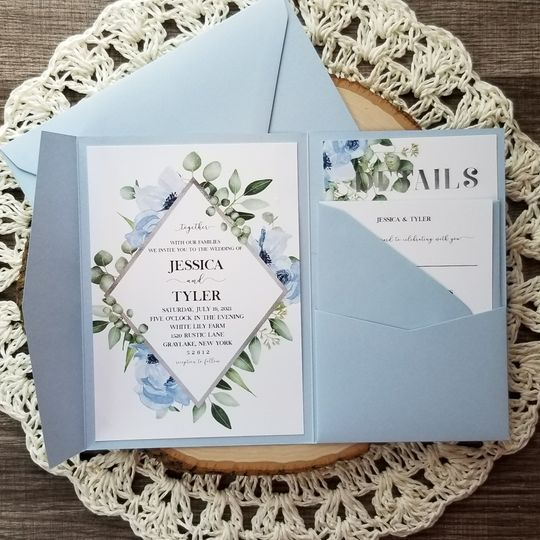 Blue Greenery Pocket Invite