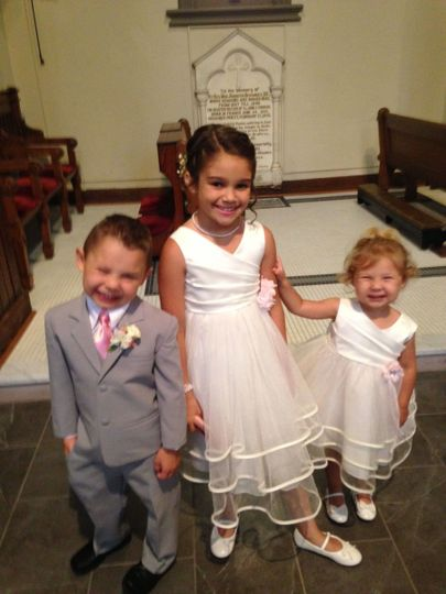 Flower girls along with ring bearer