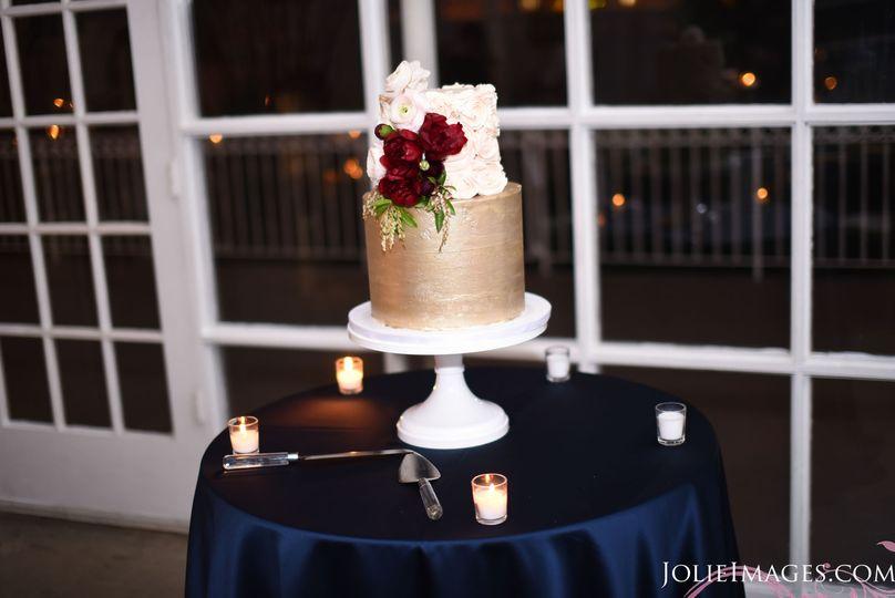 Cake table, wedding cake courtesy of Altissima Cake.