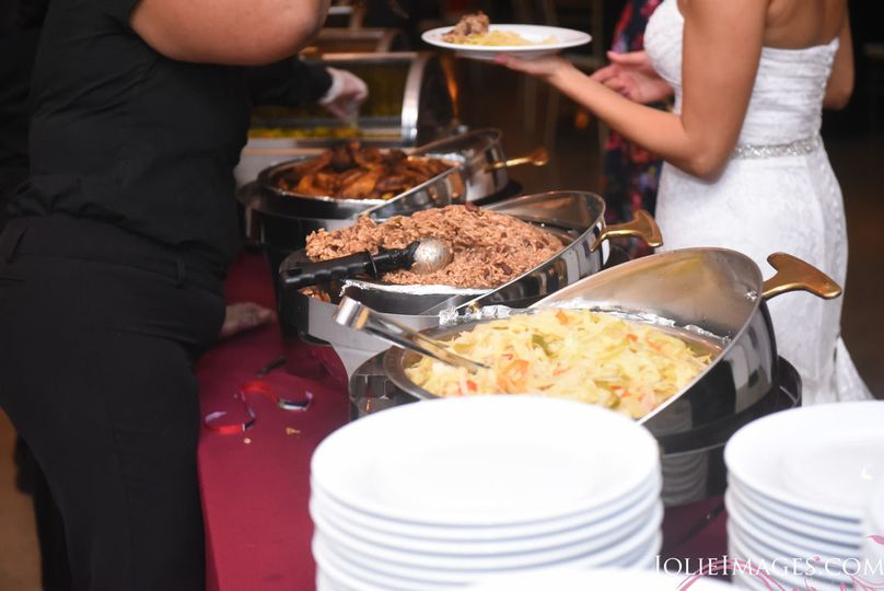 Unconventional meal prepared and delivered by Uncle Joes. Served by Outside The Box Weddings.
