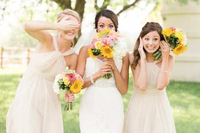 The bride and the bridesmaids