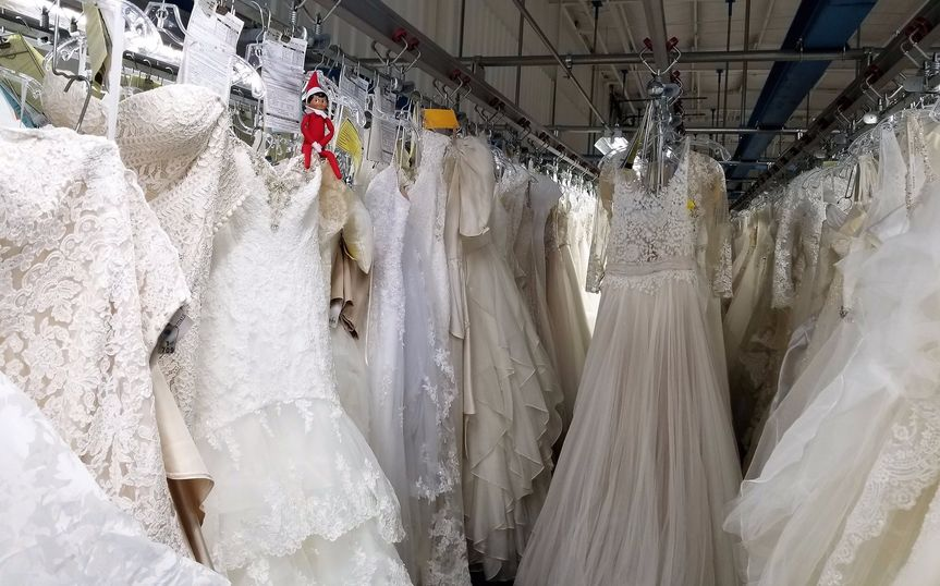 Wedding gowns ready for cleani
