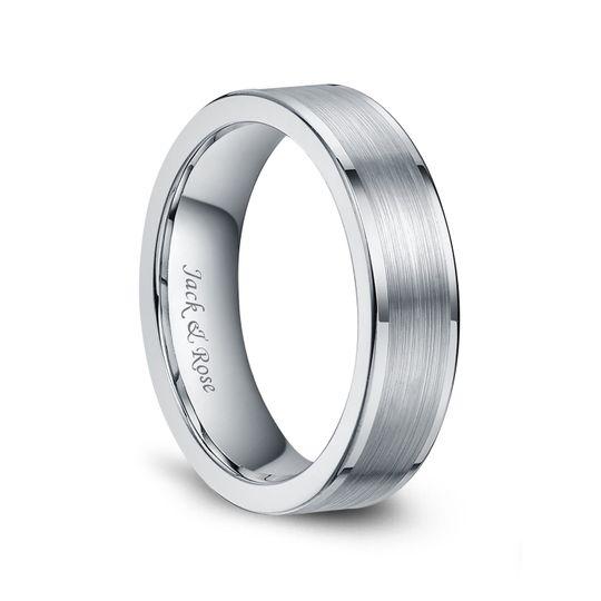 Silver tungsten wedding bands