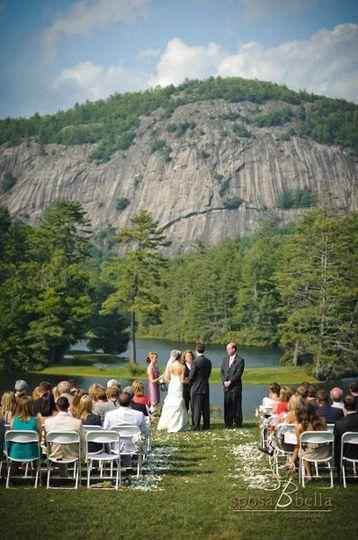 Wedding Ceremony in progress - The High Hampton -  - Cashiers, NC  - http://WeddingWoman.net