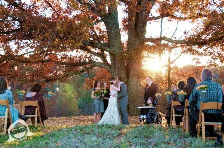 Wedding Ceremony in progress - Greenbrier Farm - Easley, SC - http://WeddingWoman.net