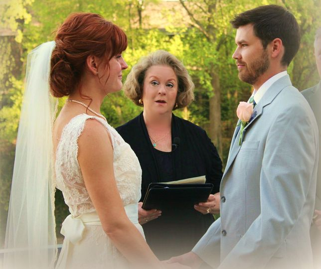 Wedding Ceremony in Progress - Mary's at Falls Cottage at Falls Park on the Reedy River -...