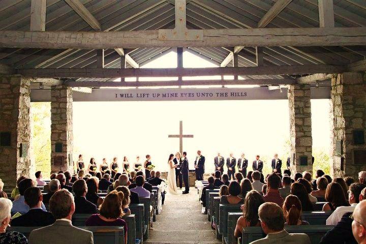 """Wedding Ceremony in progress - Symmes Chapel """"Prett yPlace""""  - http://WeddingWoman.net"""