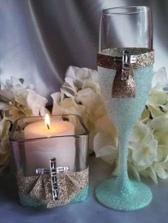 candle set mint gold