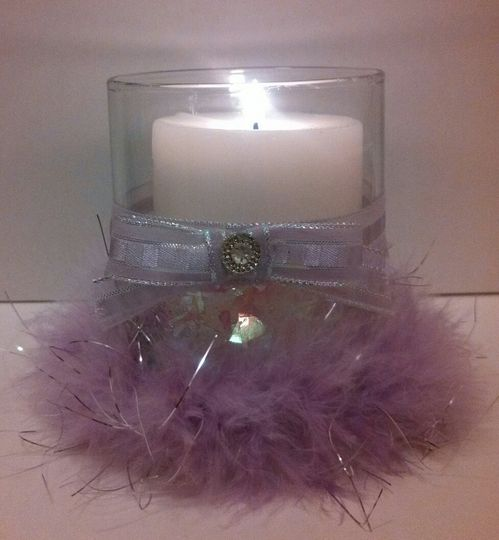 This lovely holder is designed with flake lavender glitter, sheer lavender and fluffy specialty...
