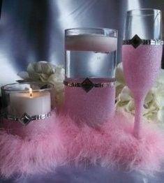 candle holder set medium fine pink