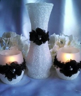 candle holder set snow with black lace ribbon