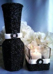 candle holder vase black standard ivory satin ribb