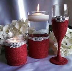"These beautiful items are designed with fine ""Christmas Red"" glitter and rhinestones, with centered..."