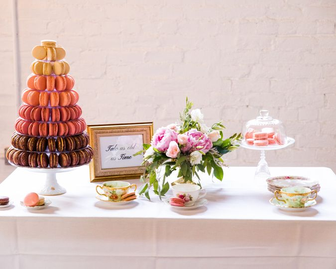 Dessert table with sweets and vintage elements