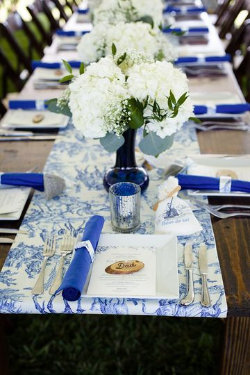 Long blue tables | Photo by Barnyard Photography
