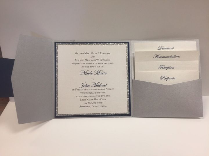 A sliver of Silver Glitter adds sparkle to this elegant silver and navy pocket invitation