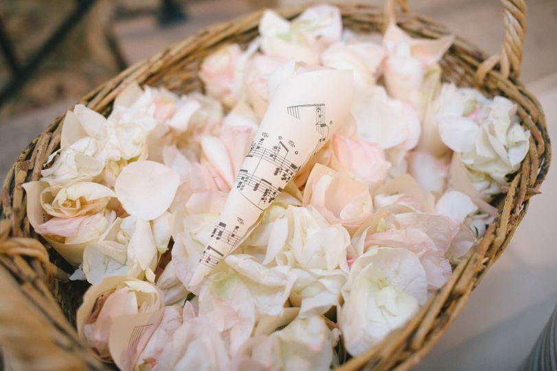 Flower petals in the basket