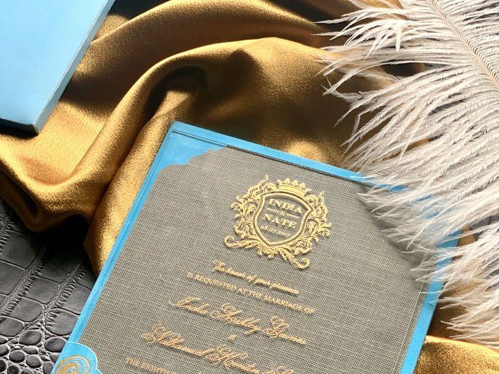 Tmx Blue And Gold 2 51 1940039 158268365285596 Slidell, LA wedding invitation